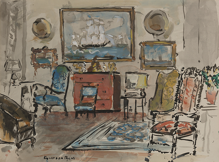 Watercolor of Harrison Cady's studio: painting of sailboat on wall, five upholstered chairs in room, rug in middle.