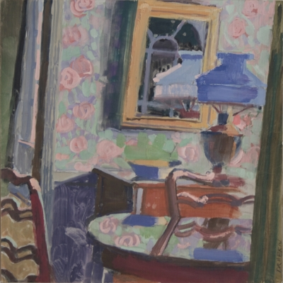 Gouache of reflective table, two chairs, flower wallpaper, mirror, and lamp with blue shade