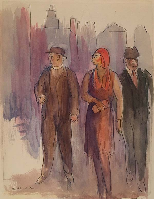 Watercolor of two men in hats and one woman in a red hat and dress in front of a purple background