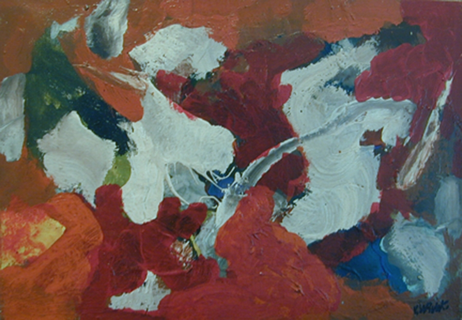 Abstract shapes (brushstrokes) in white, orange, red, blue, green, and yellow