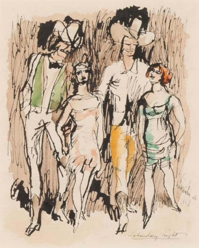 Ink and watercolor of two men wearing cowboy hats and two women in dresses