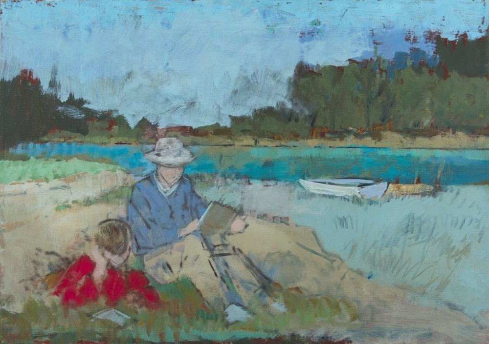 Oil painting of two figures reading in the grass (one wearing a blue shirt and one wearing a red shirt) next to lake with a rowboat on the right