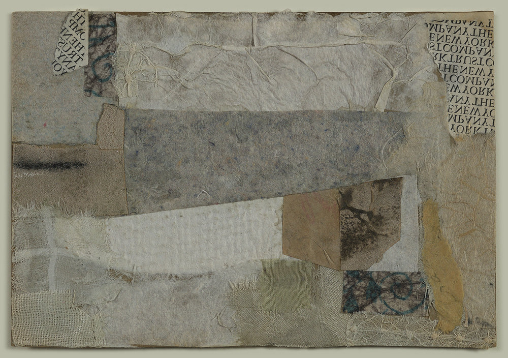 Collage of beige, blue, grey, brown, white, and text-covered paper and fabric