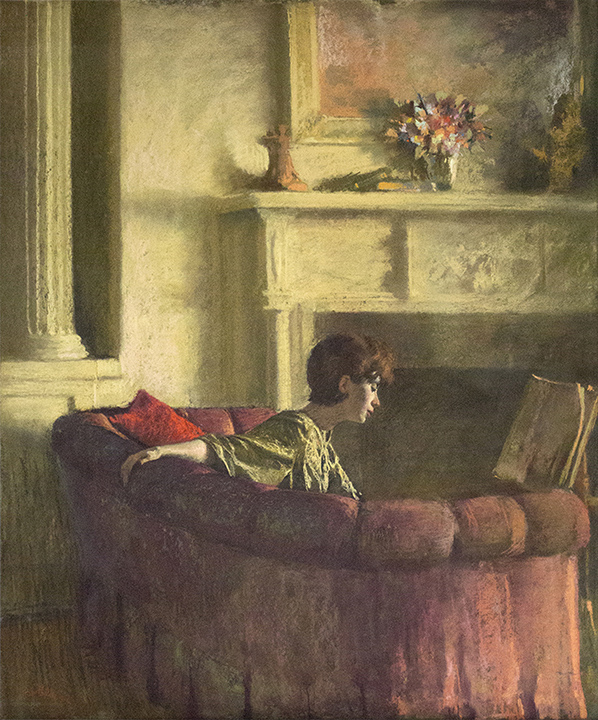 Pastel of woman on u-shaped pink couch reading in a green top. Fireplace in background with vase of flowers on mantel. Column on left.