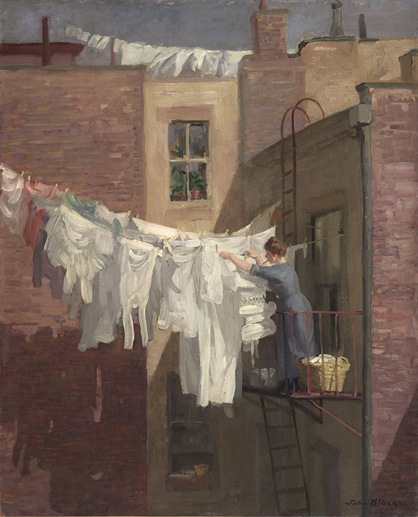 "John Sloan, A Woman's Work, 1912, oil on canvas <alt=""Painting of woman hanging laundry on clothesline on balcony outside apartment building"">"