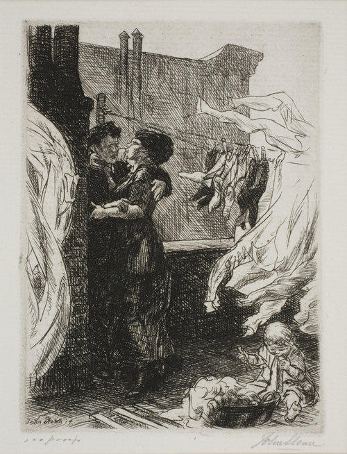 "John Sloan, Love on the Roof, 1914, etching <alt=""Etching of two figures kissing on a roof. Clothing and sheets hang from a clothes line, and a baby sits on the ground playing"">"
