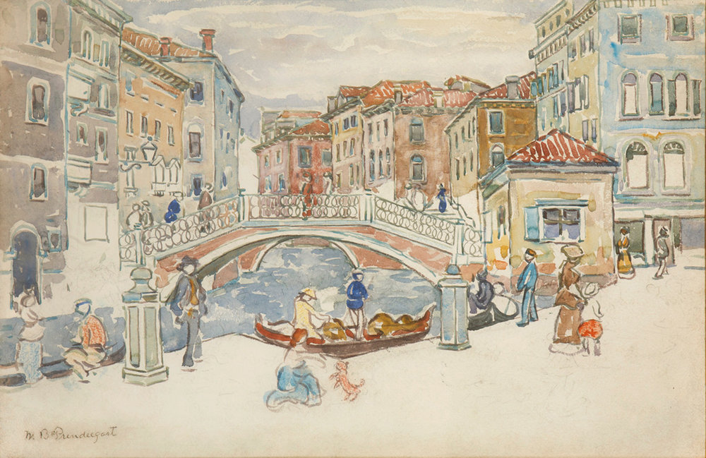 Watercolor of Venice canal with bridge, figures walking by water, buildings on either side of water