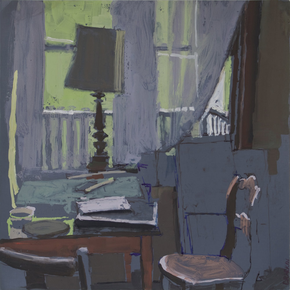 Gouache of interior in blue tones. Looking at a desk, chair, lamp, and window.