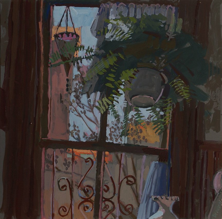 Gouache of an interior scene looking at an open window with a large hanging fern.