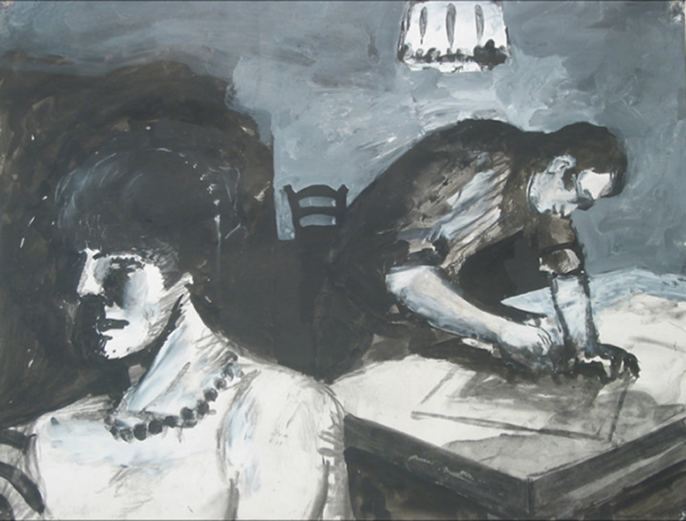 Black and white drawing of a female model in pearls in the foreground and the artist working behind her.