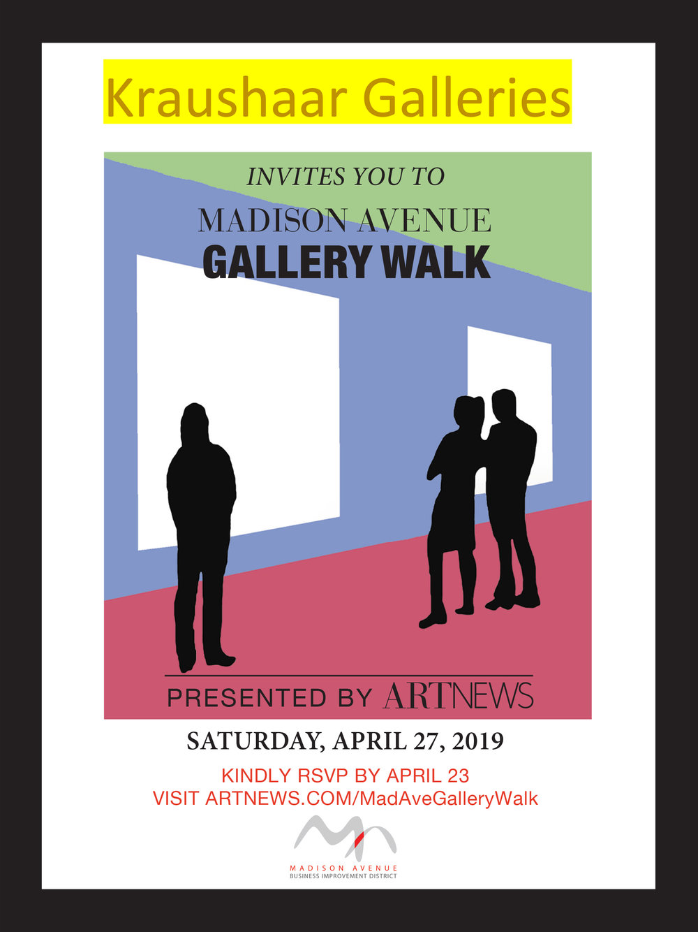 Advertisement for the Madison Avenue Gallery Walk, Saturday, April 27, 2019.
