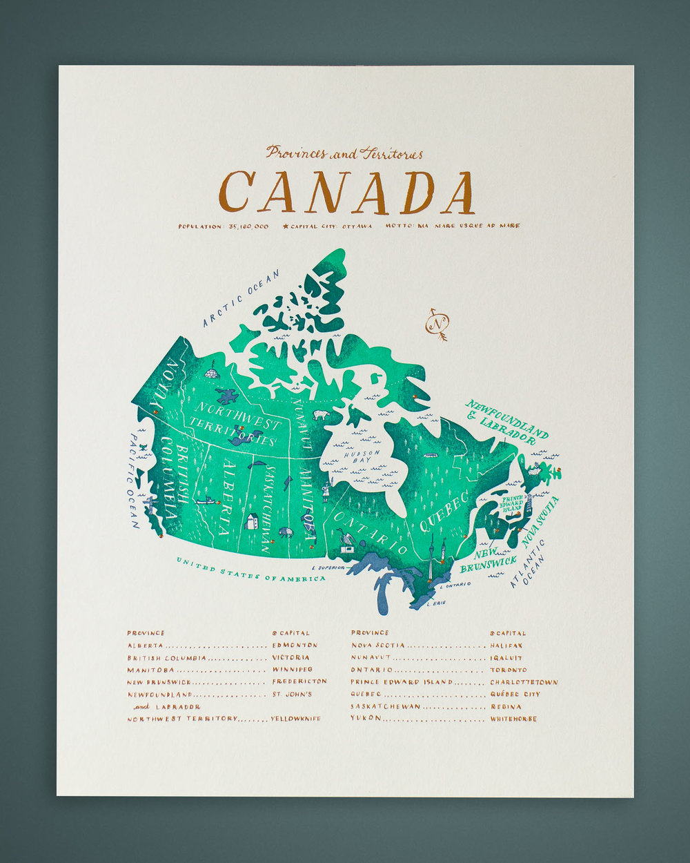 Map Of Canada Yellowknife.The Map By Tom Froese Everlovin Press Fine Letterpress Printed