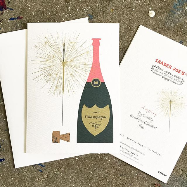Our champagne design was picked up by @traderjoes. Finally, a place where you can actually buy champagne along with the card. Of course, if you want the real (letterpress) deal, you're gonna have to get that from us.
