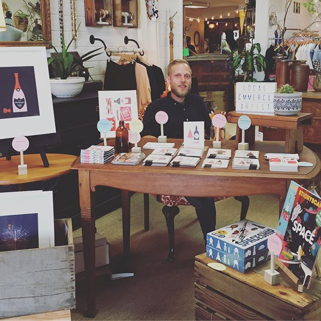 Peddling our wares and some of @mrtomfroese's sundry fine printed collection #Abbotsford #wineandartwalk #abbotsfordwine #aandco #commercialart #wineandartwalk2016 #downtownabbotsford