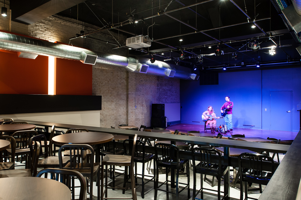The Stage is the ideal venue for your private event. Offering state of the art multi-media capabilities and performance area, The Stage's two-tiered space can accommodate 120 guests at tables or 150 theater seated.