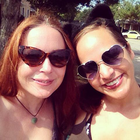 Time with my bestie. Loving my heart sunglasses from Paige!