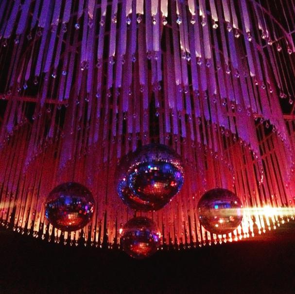 Disco ball chandelier at District Nightclub