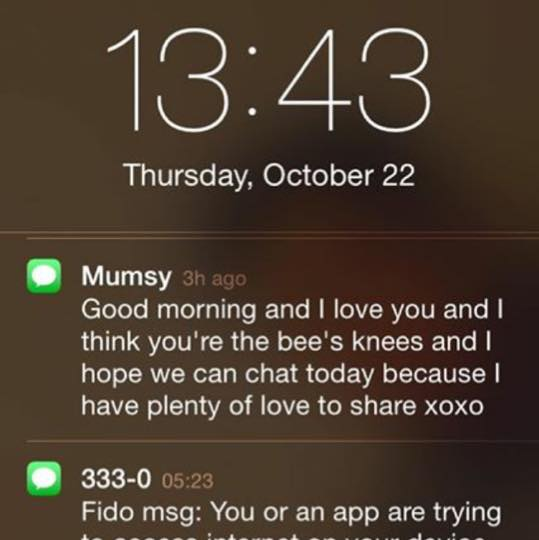 "Paige sent me this screenshot by accident of my message to her. So now I know she collects my cyber love notes like I collect hers, and I also found out I'm ""Mumsy"" in her phone. So cute!"