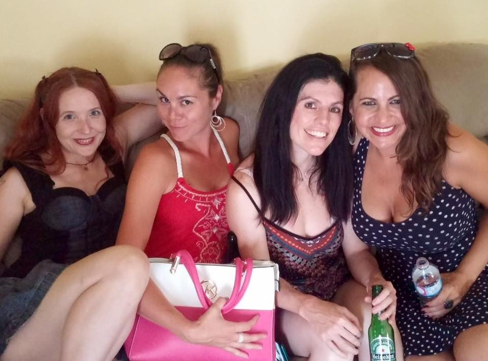 With my loves, Melanie, Bobbi and Sheena during the shoot - they were each last minute additions to the video. Yay!