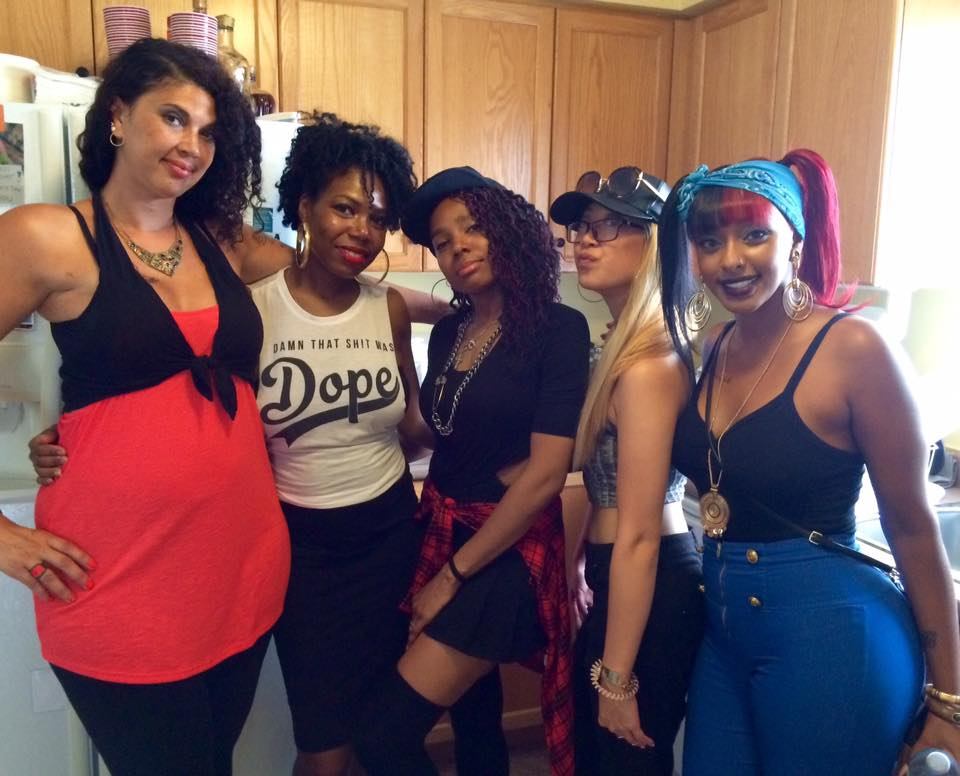 Some of the hotties in the video. On the left is Faith Walker who performs on the track.