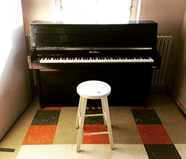 A piano in the cafeteria