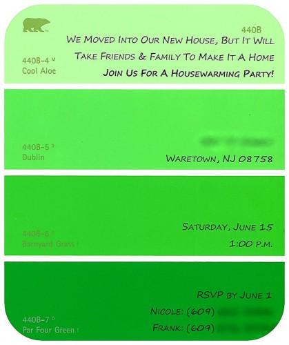 DIY Paint Swatch Housewarming Invitation