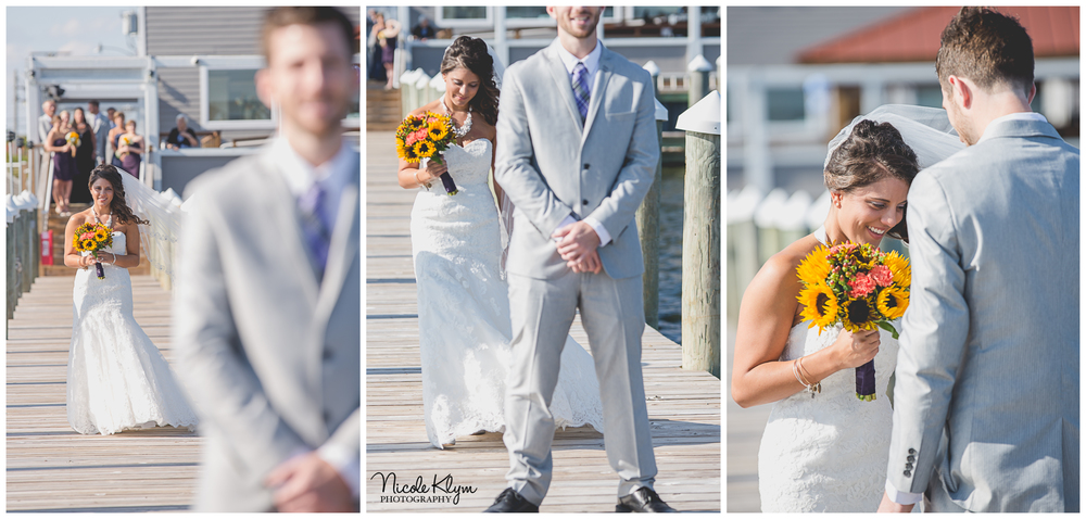 Waters Edge Wedding First Look | Nicole Klym Photography