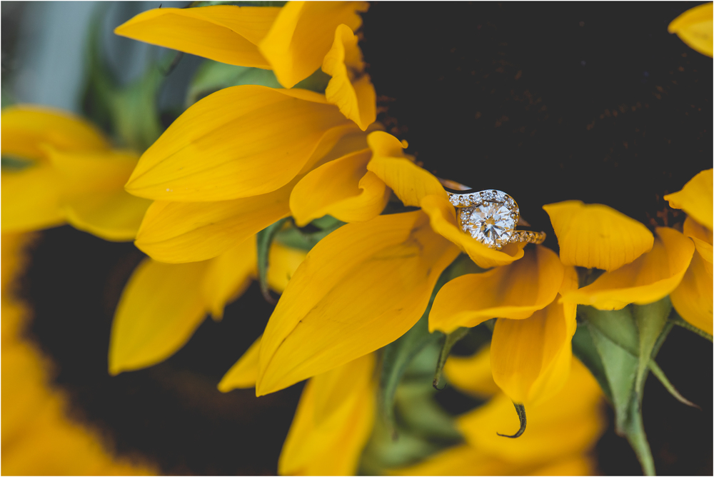 Engagement Ring in Sunflower | Fall Engagement Photos at Laurita Winery in New Egypt, NJ