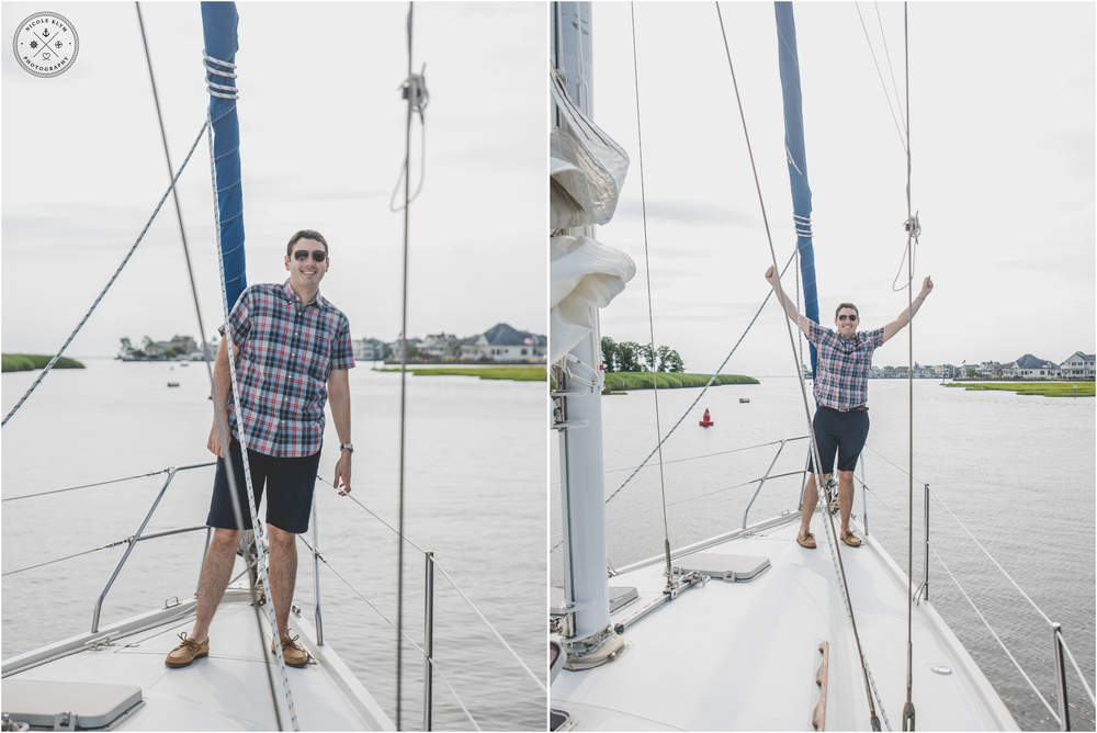 Forked River Summer Sailboat Cruise Proposal and Engagement Photos
