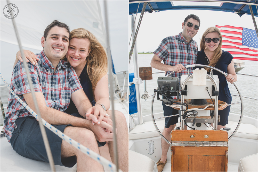 Forked River Summer Sailboat Cruise Proposal and Engagement PhotosForked River Summer Sailboat Cruise Proposal and Engagement Photos