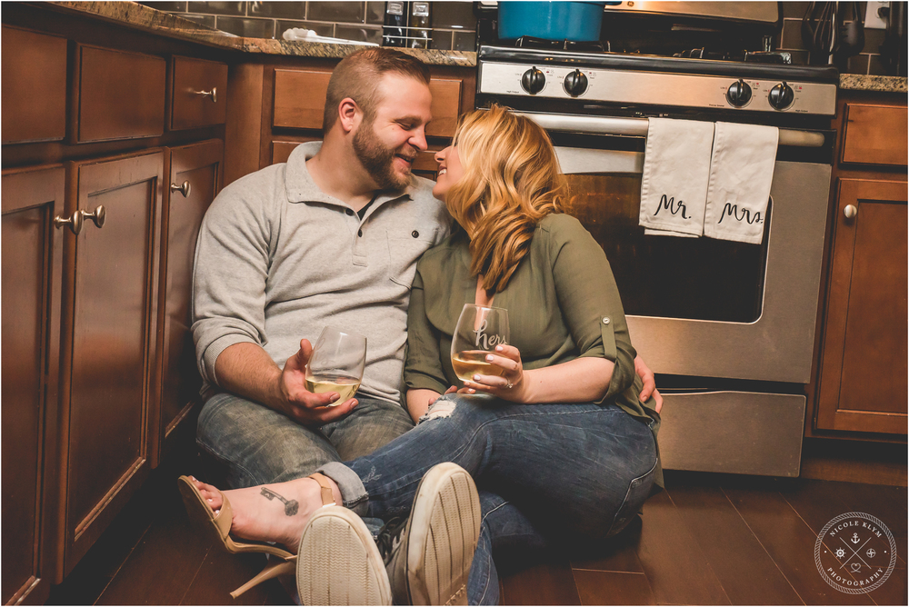 At-Home Cooking Engagement Photography Session by NJ Photographer Nicole Klym Photography