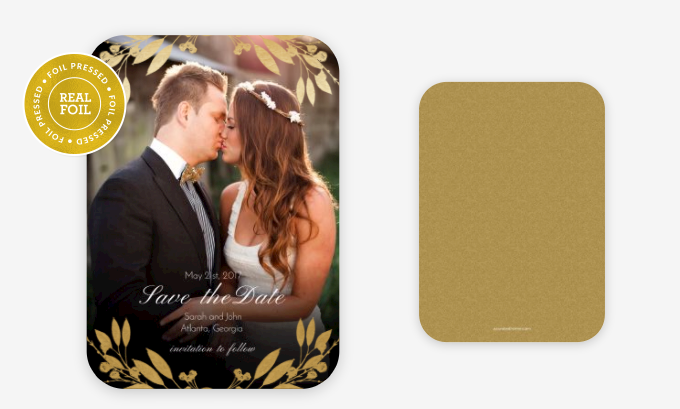Foil accents available in gold, silver, rose gold or red.