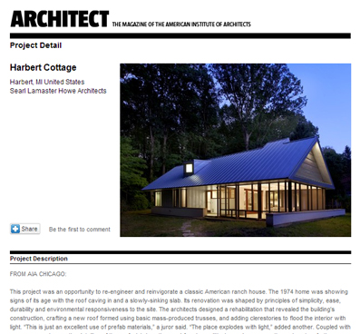 ARCHITECTS MAGAZINE   HARBERT COTTAGE