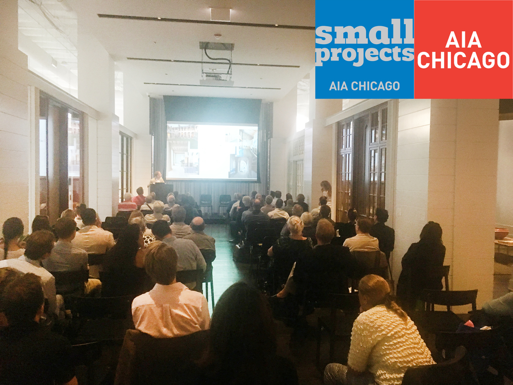 FIVE AWARD WINNING ARCHITECTS  Five architects from the AIA Chicago Small Project Awards, including Greg Howe, gave presentations on their award winning projects and the design process with the client. The evening was a resounding success with a great turnout.