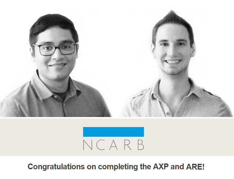 CONGRATS TO RON AND ROSS   Ron Dapsis  and  Ross Holden  have finished their architectural exams to become licensed architects!