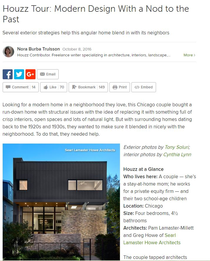 EASTWOOD RESIDENCE FEATURED ON HOUZZ Houzz Tour: Modern Design With a Nod to the Past.
