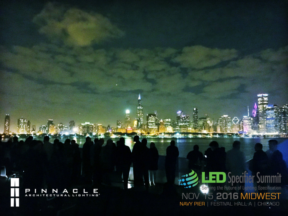 CHICAGO'S SKYLINE AT ITS BEST As part of the LED Specifier Summit, SLH attended a spectacular boat party hosted by Pinnacle Architectural Lighting on Lake Michigan.