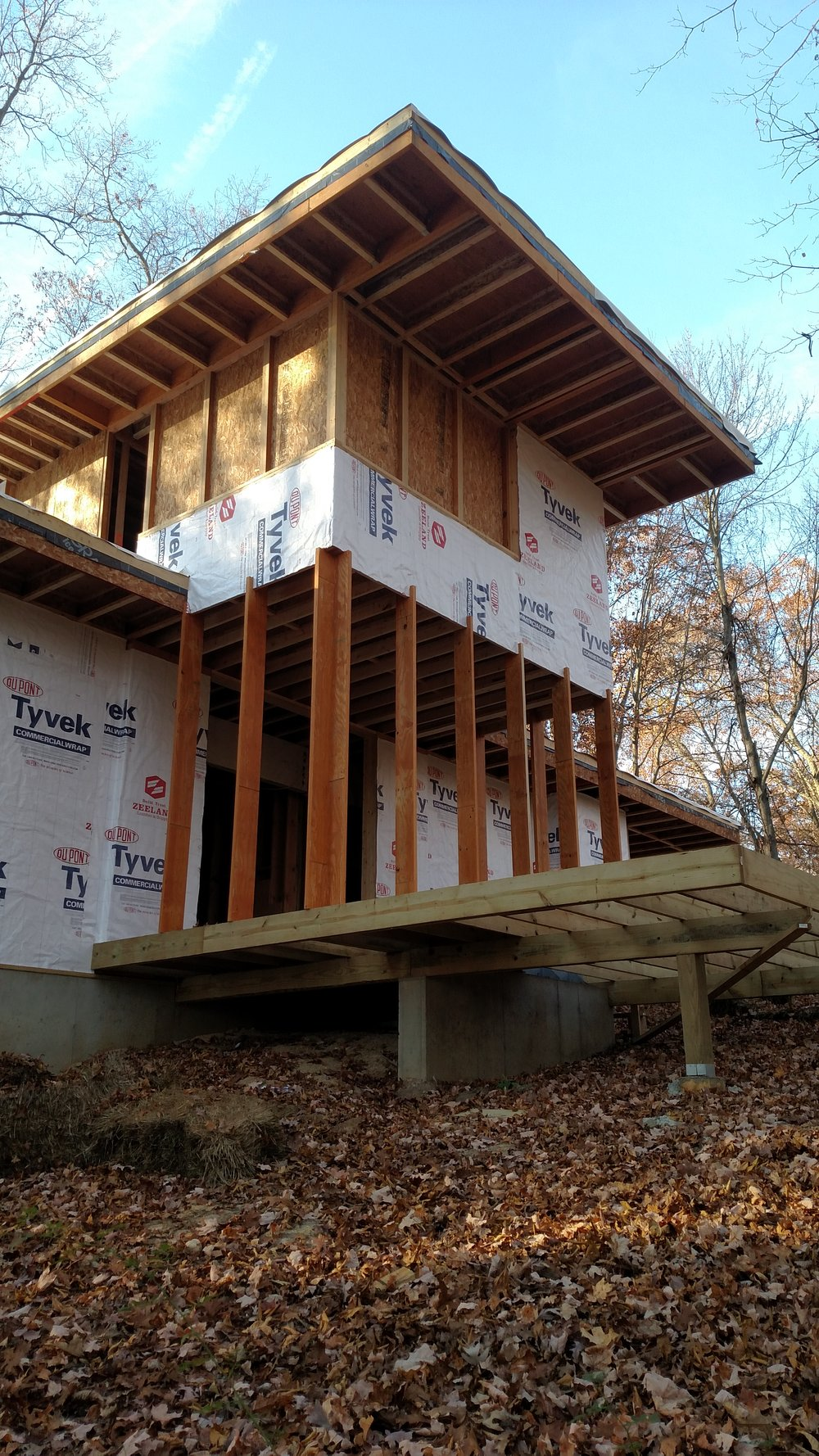 RETREAT  TAKING SHAPE  Framing and building envelope in progress as winter approaches.