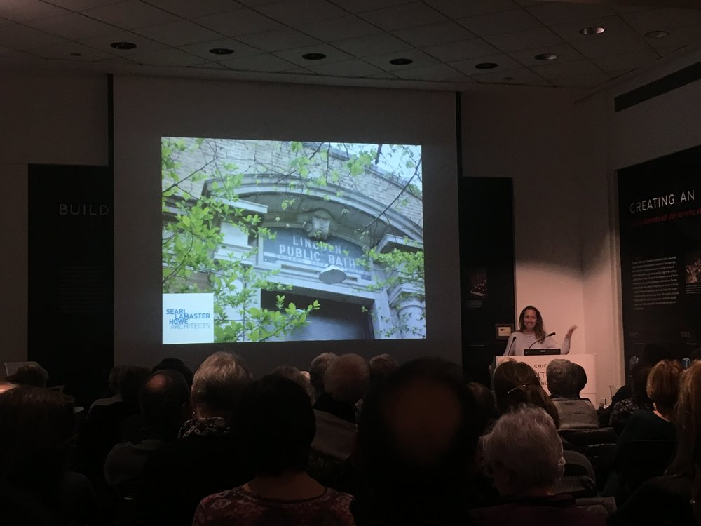 FULL HOUSE AT  CAF   Creative reuse of aging buildings successful with  Pam 's presentation of the  Wolcott Bath House Residence