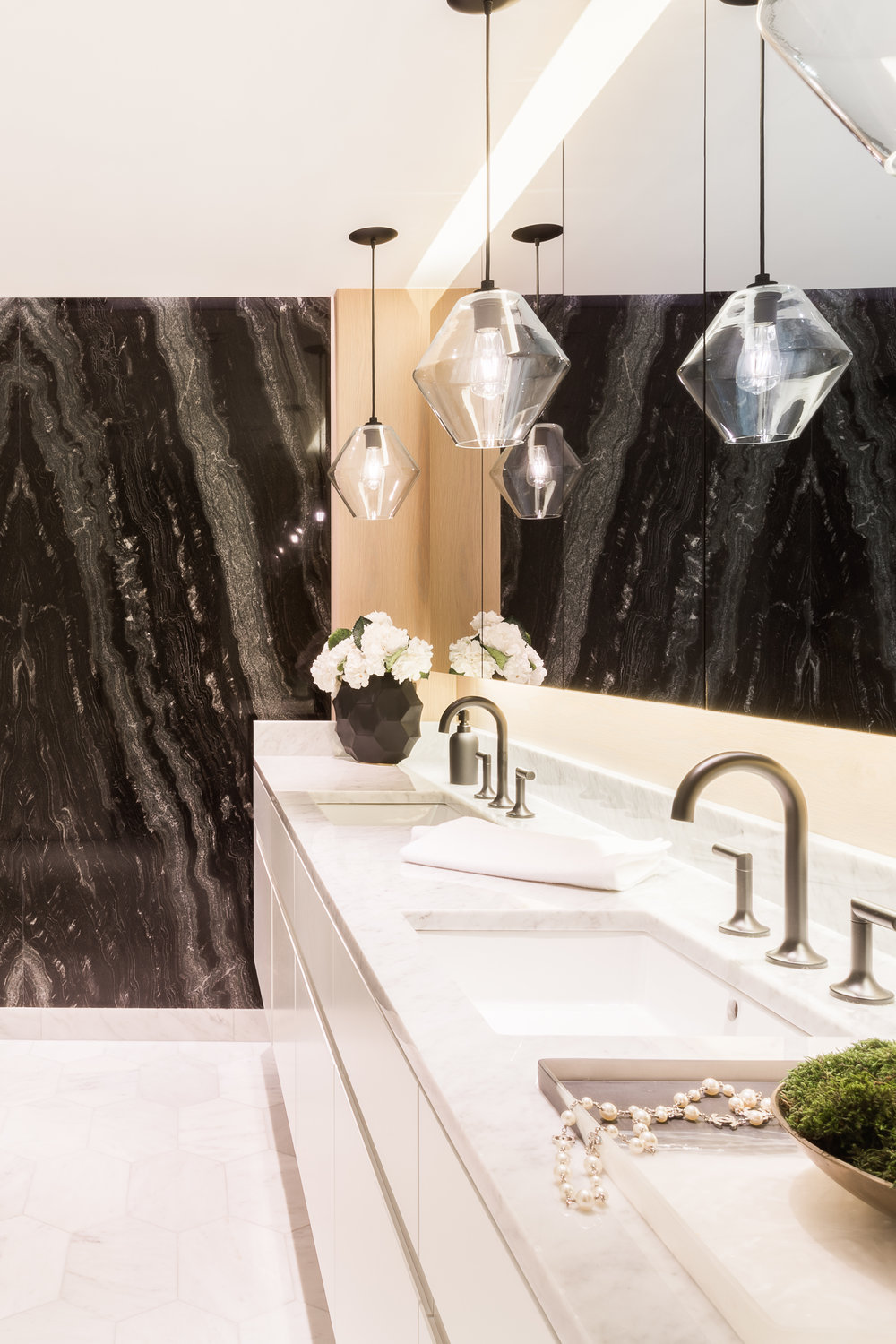NICHE MODERN  FEATURES  WATER TOWER FLAT   Bathroom pendant lighting adds sophisticated touch to couple's condo.