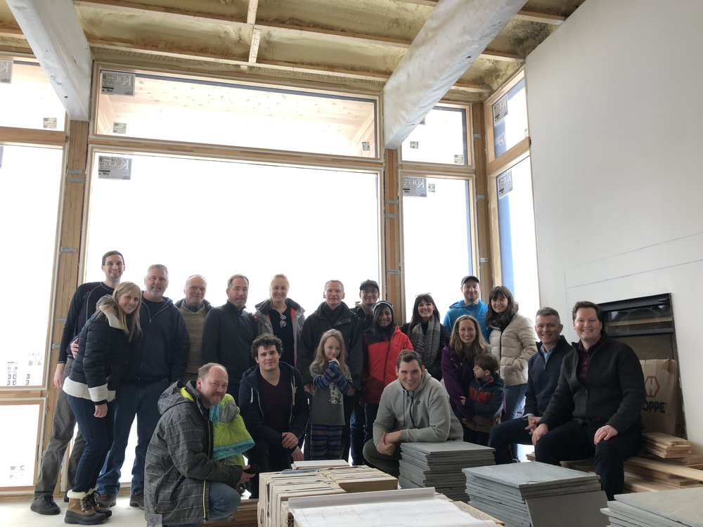 GROUP VISIT TO LAWLESS RETREAT Prior to the group ski trip, the office enjoyed seeing the Michigan home underway.