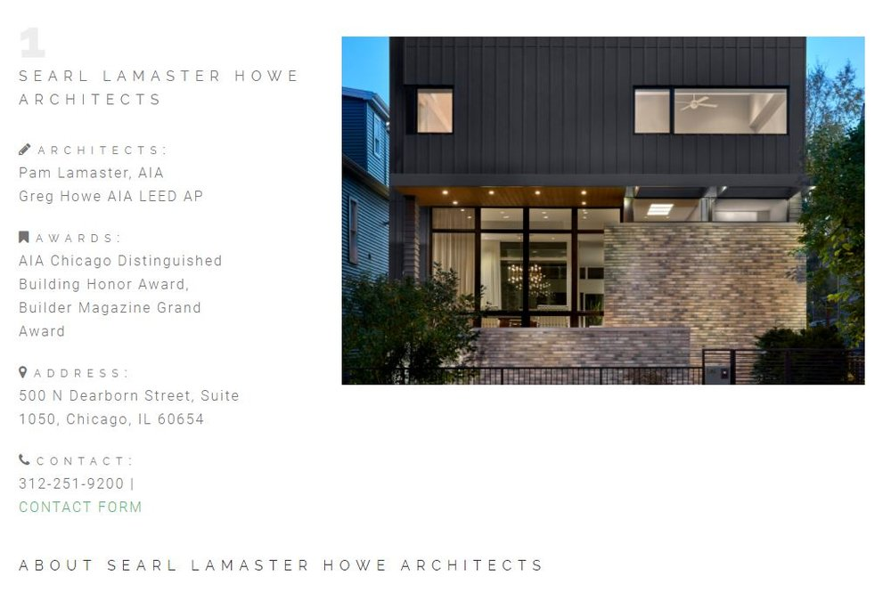 SLH #1  The Best Residential Architects in Chicago.