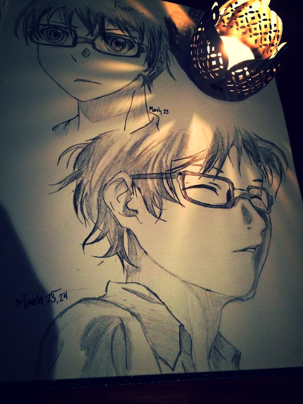 Some sketches I did of Kousei. Picking up graphite for once instead of ink. Very odd stuff, graphite.