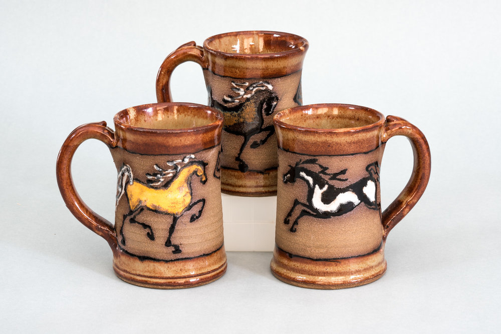 Black Horse Pottery Mugs