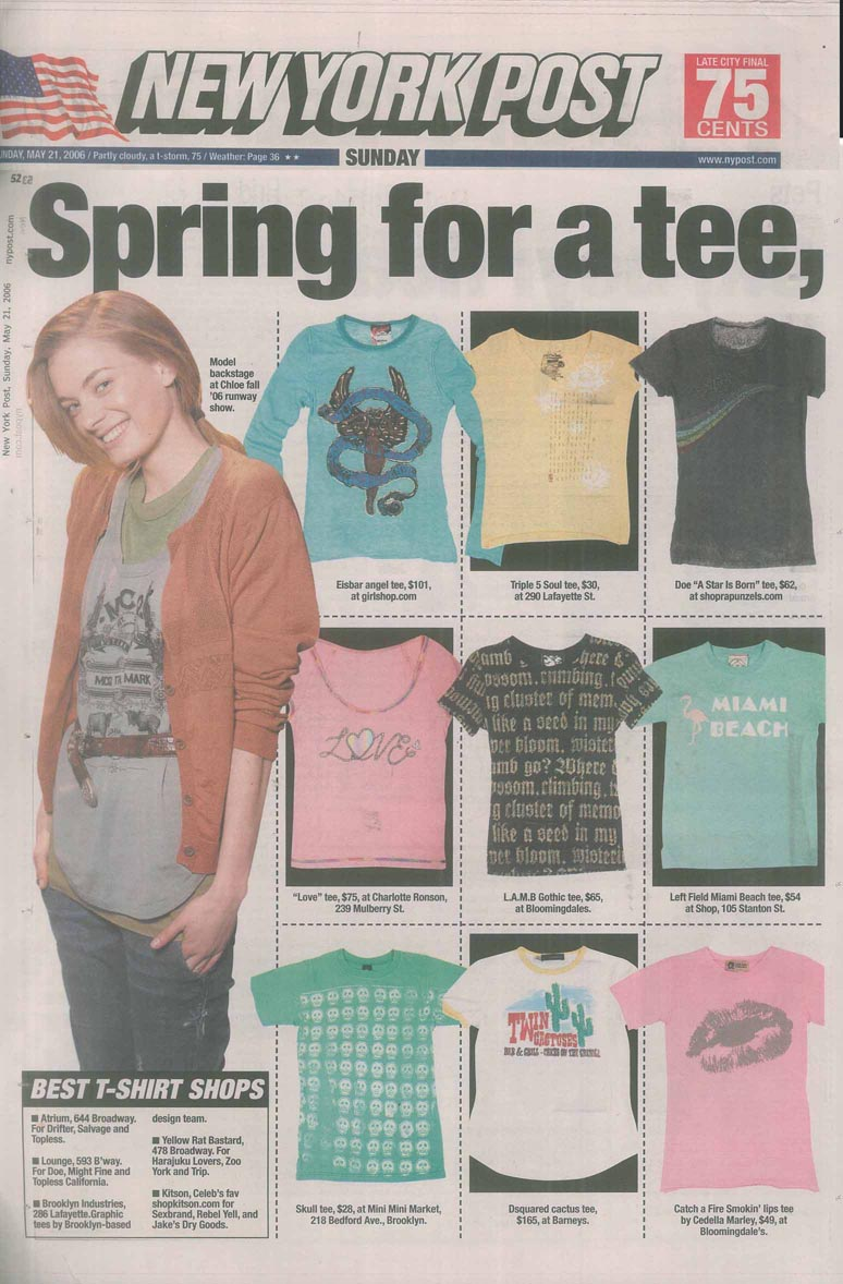 Catch A Fire Clothing. Lips Tee. As seen in The New York Post.