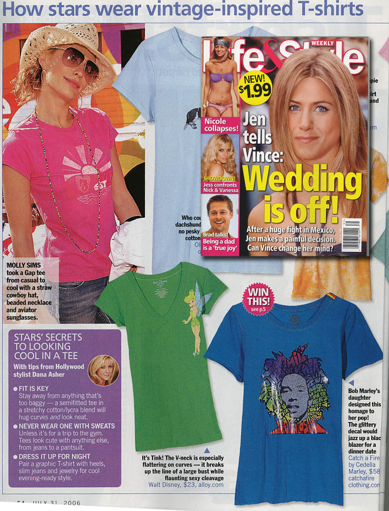 Catch A Fire Clothing. Rainbow Bob Tee. As seen in Life & Style Magazine.
