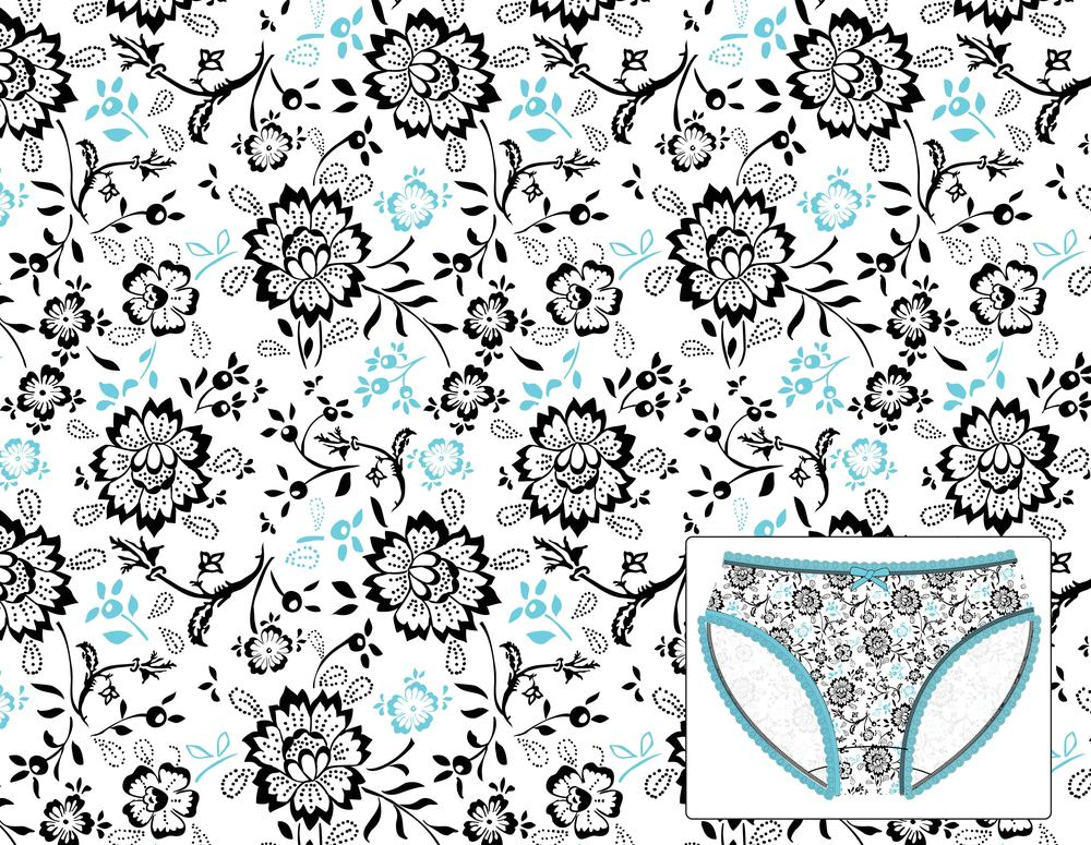 Saramax. Blue Garden Print.