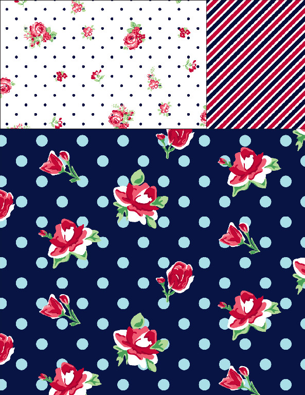 Nautical Flower Coordinate Prints.