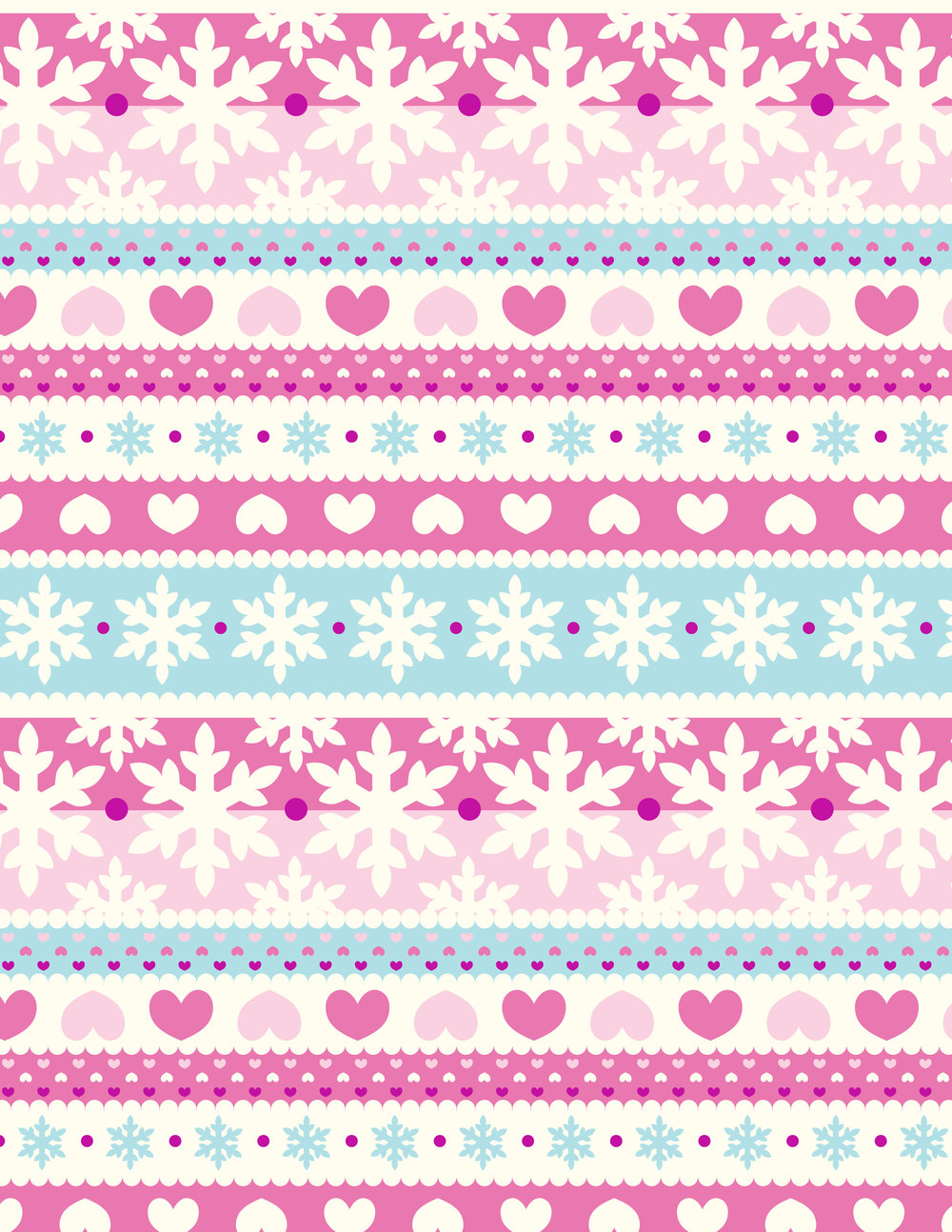 Snow Flakes and Hearts Print.