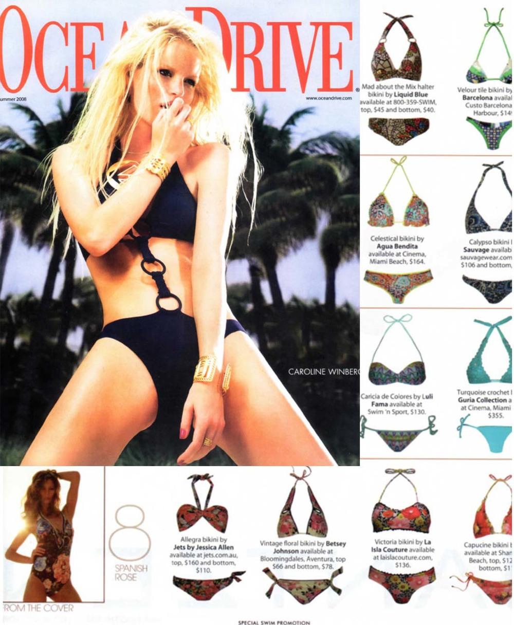 Ocean Drive Magazine. La Isla. New Floral Print Bikini.